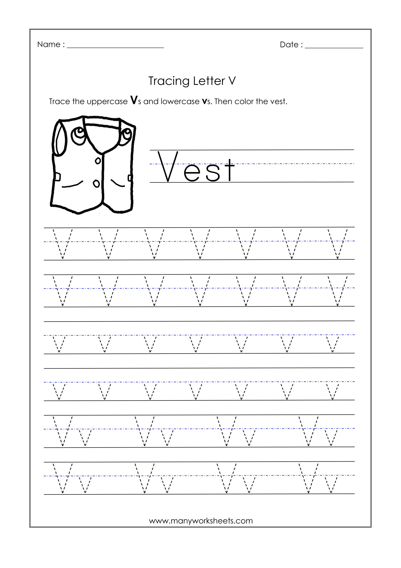 Letter V Worksheets Preschool Letter V Worksheets for Kindergarten – Trace Dotted Letters