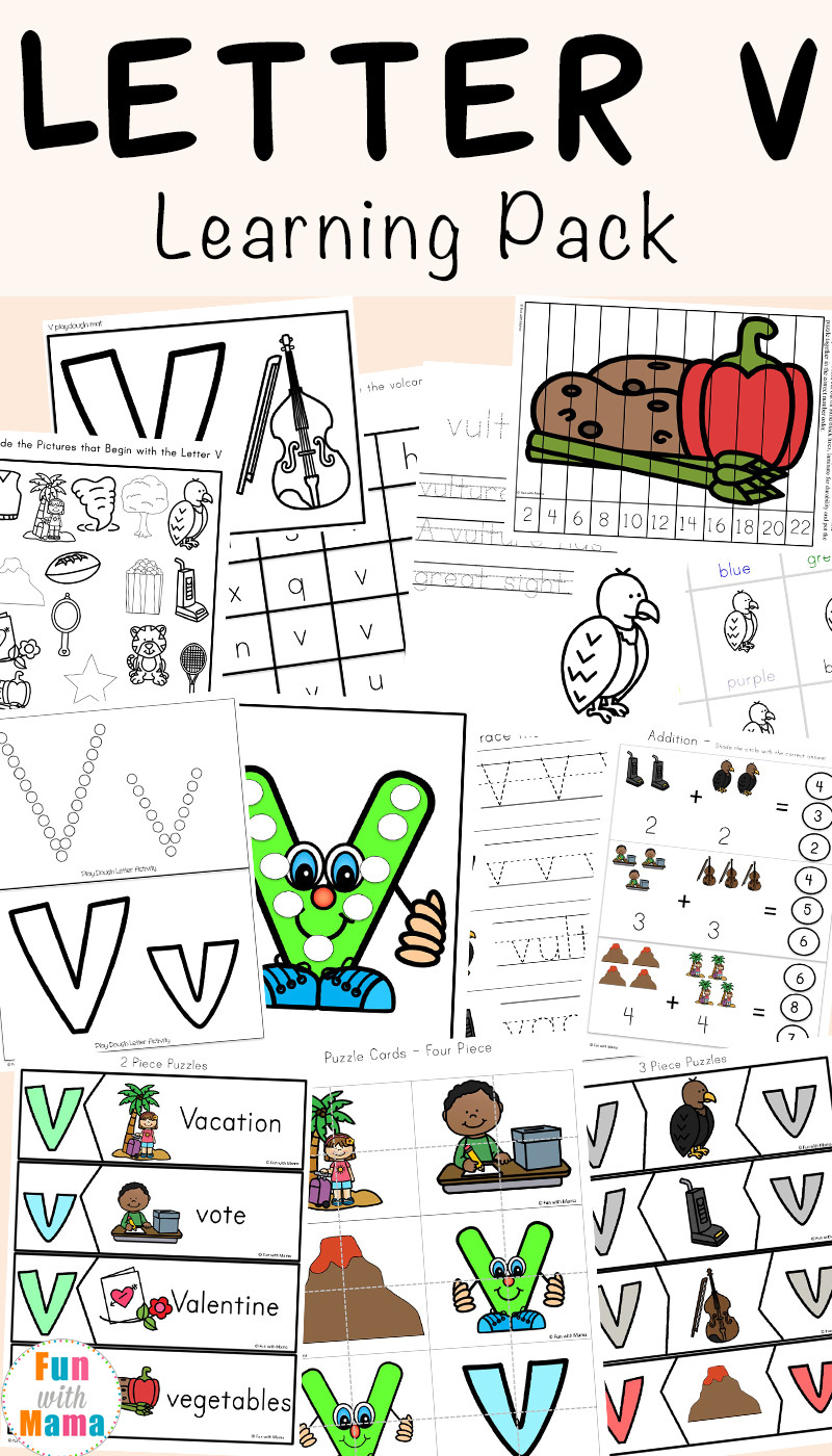 Letter V Worksheets Preschool Letter V Worksheets for Preschool Kindergarten Fun with Mama