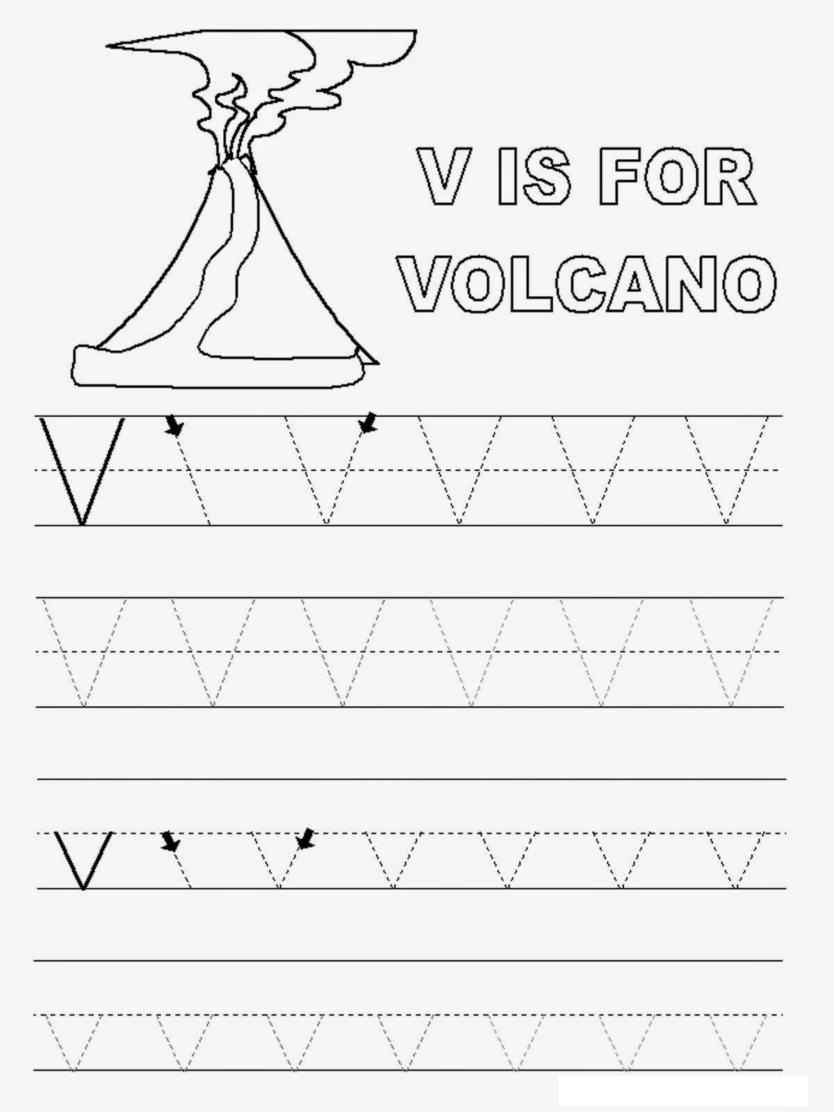 Letter V Worksheets Preschool Spanish Letter V Worksheet