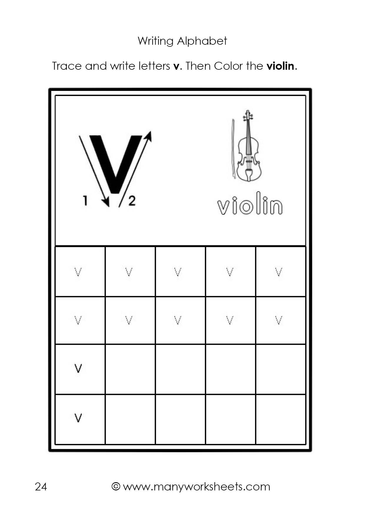 Letter V Worksheets Preschool Tracing and Writing the Letters V