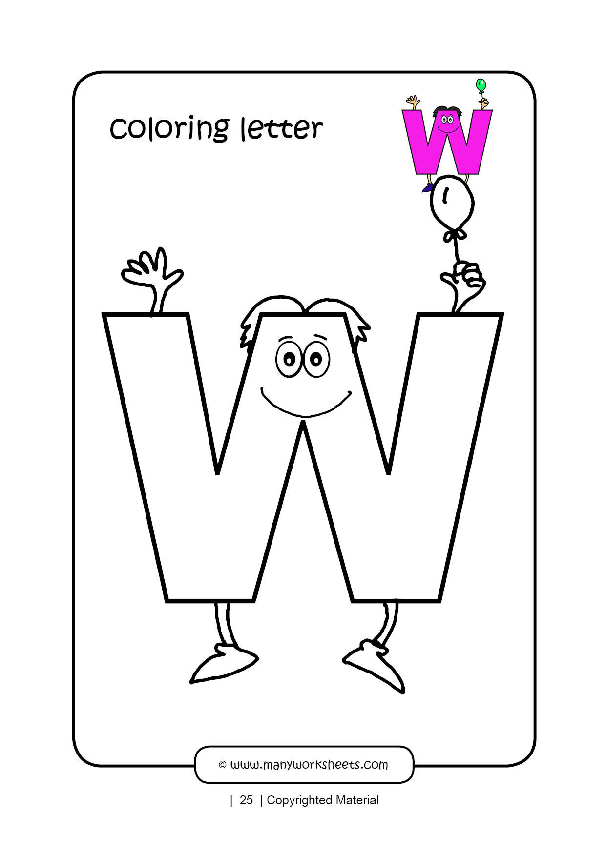 Letter W Worksheets for Preschoolers Letter W Coloring Page