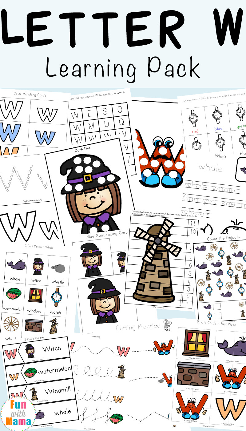 Letter W Worksheets for Preschoolers Letter W Worksheets for Preschool Kindergarten Fun with Mama