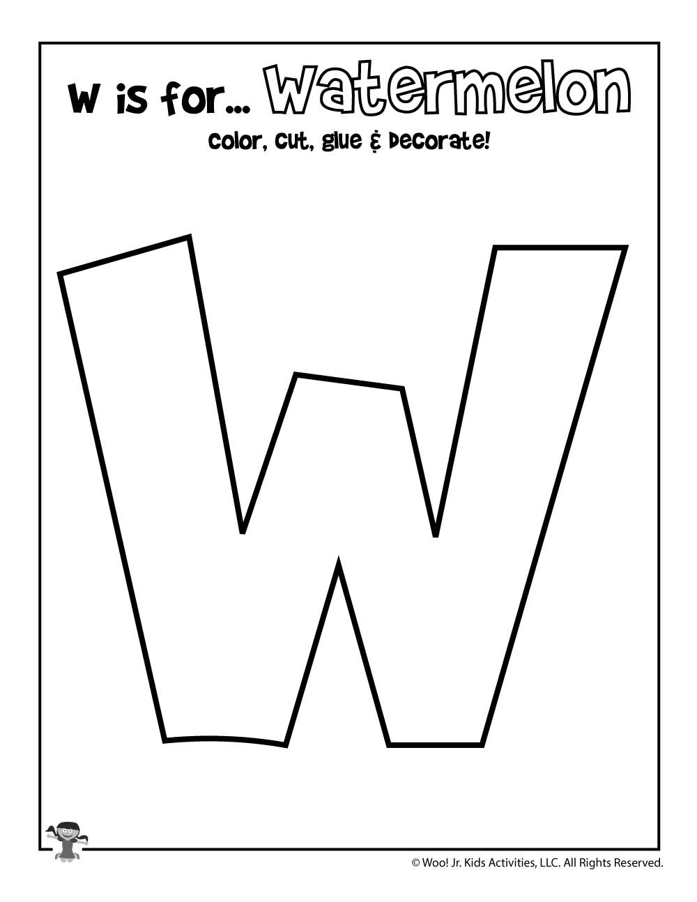 Letter W Worksheets for Preschoolers Printable Letter W Craft
