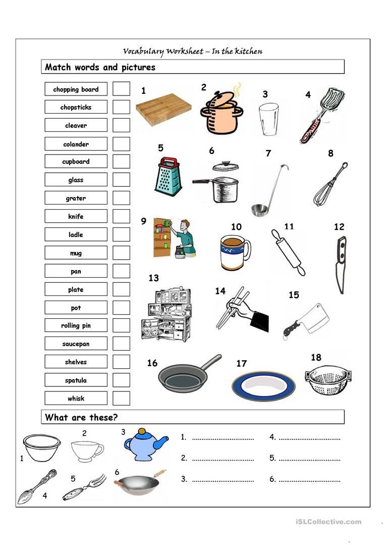 Life Skills Math Worksheets Pdf Vocabulary Matching Worksheet In the Kitchen