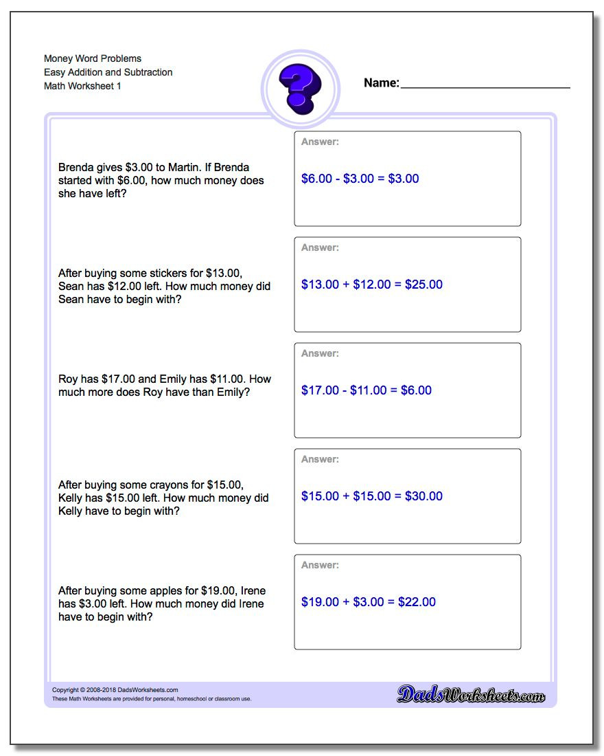 Line Graph Worksheet 3rd Grade Money Word Problems