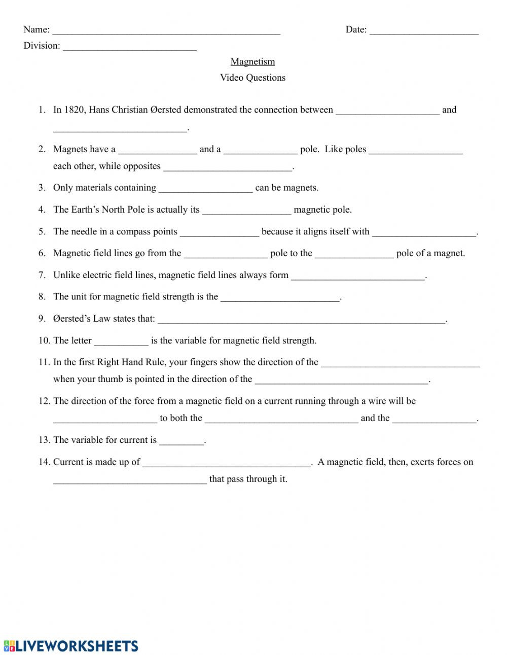 Magnetism Worksheet for High School Crash Course Magnetic Fields Worksheet Interactive Worksheet