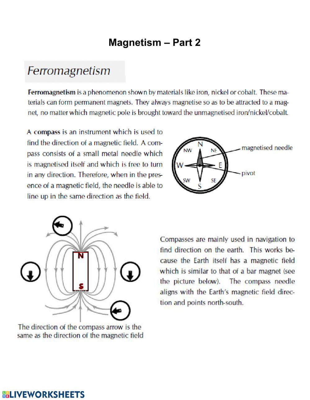 Magnetism Worksheet for High School Magnetism 2 Interactive Worksheet
