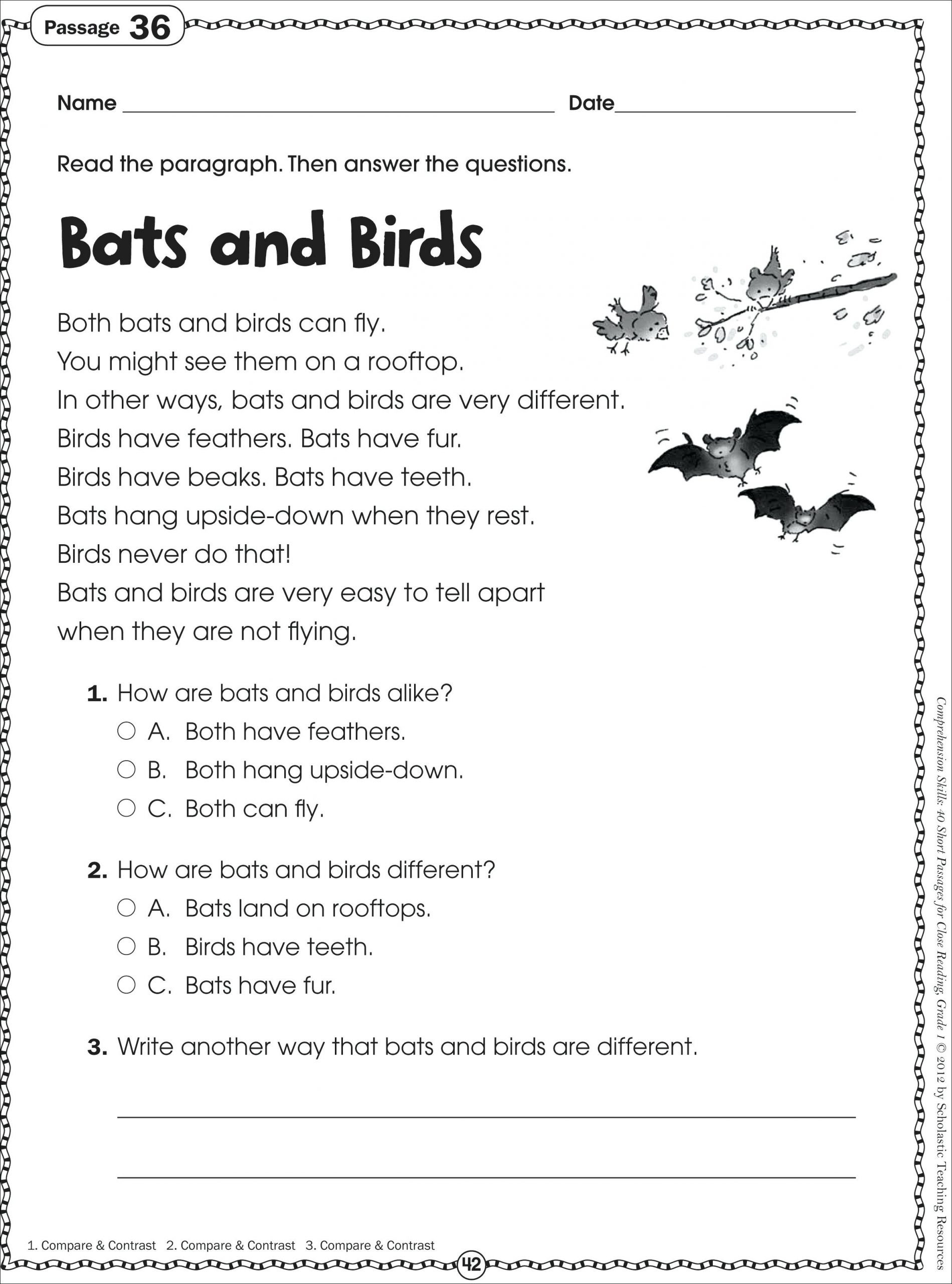 Main Idea 2nd Grade Worksheet 1st Grade Reading Passages Best solutions First