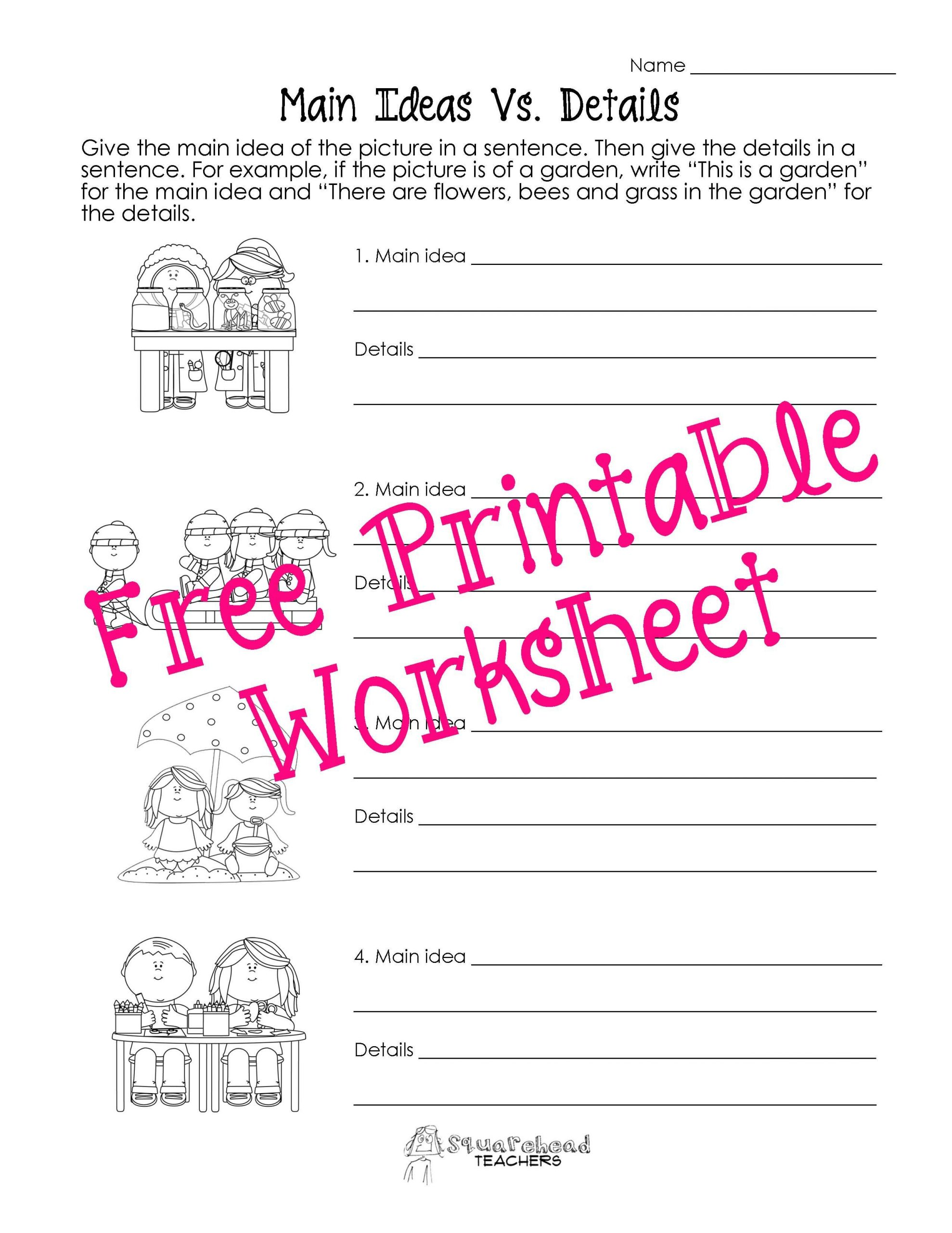 Main Idea 2nd Grade Worksheet Main Idea Vs Details Worksheets