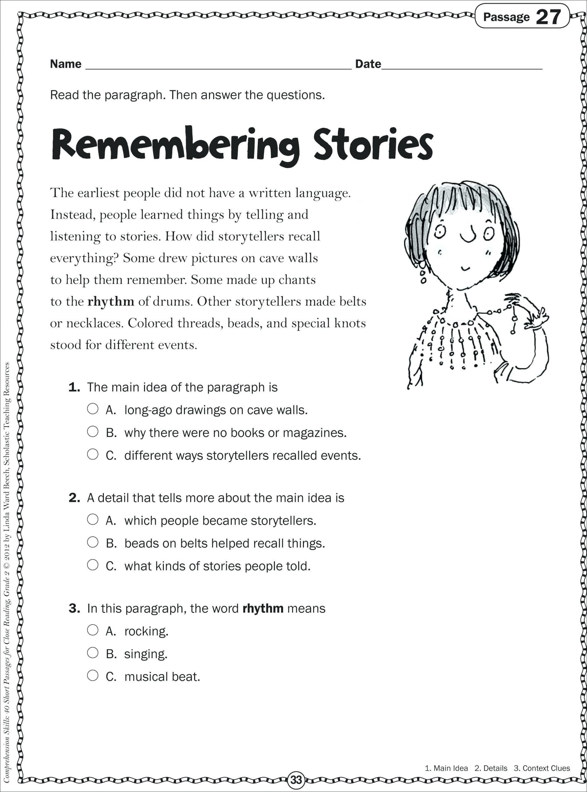 Main Idea 2nd Grade Worksheet Math Worksheet Reading Passages 2nd Grade Prehension
