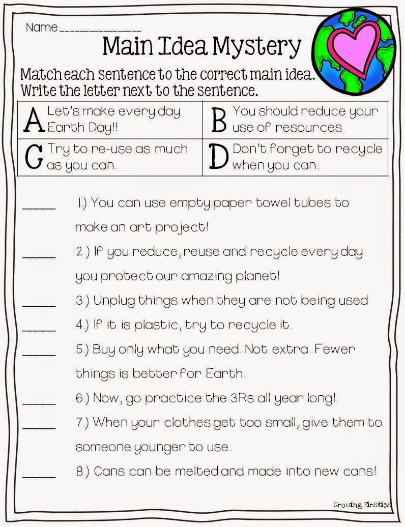 Main Idea 2nd Grade Worksheet Mon Core Crunch April