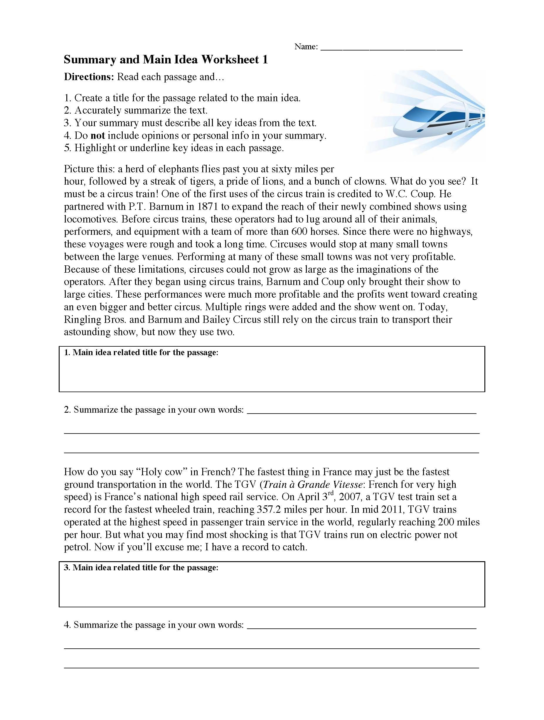 Main Idea 3rd Grade Worksheets Summarizing Worksheets Learn to Summarize