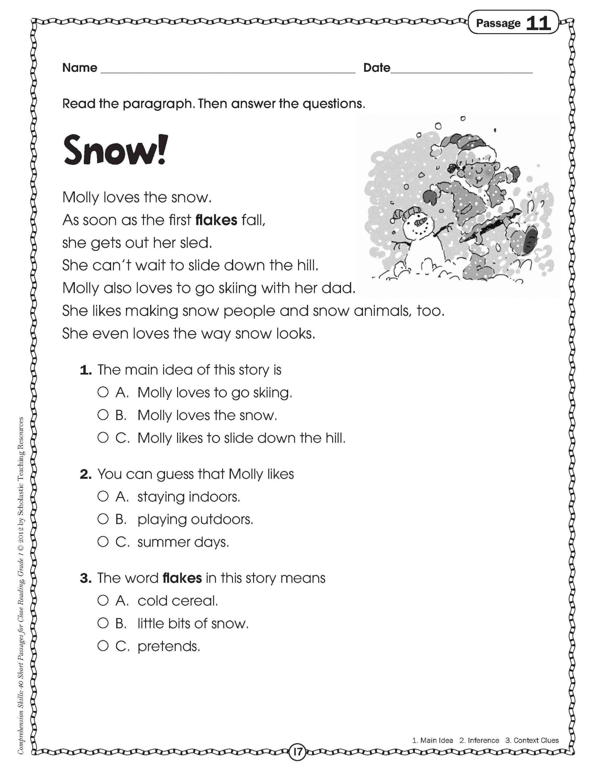 Main Idea Worksheets Grade 1 4 Sample Grade 1 Reading Prehension In 2020