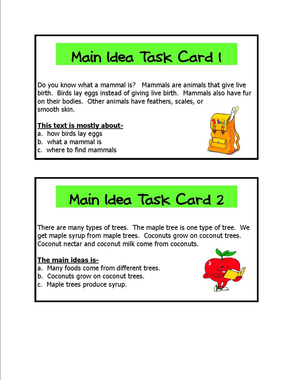 Main Idea Worksheets Grade 1 Main Idea Practice Lessons Tes Teach