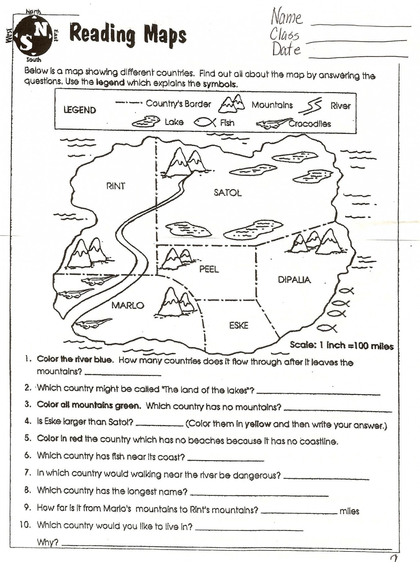 Maps Worksheets 2nd Grade Map Skills Worksheets to Printable 5th Grade Middle School