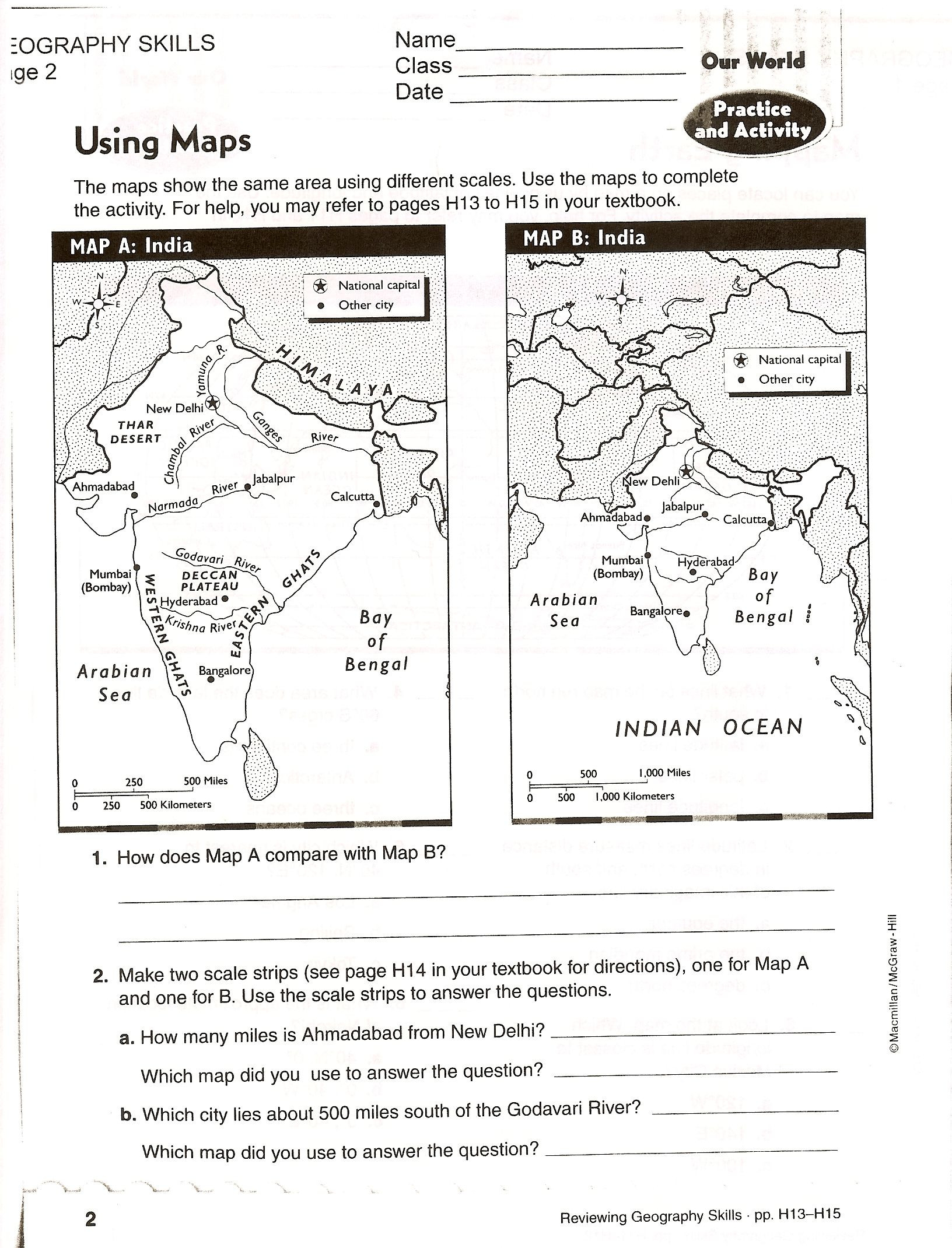 Maps Worksheets 2nd Grade Using Maps Handout Copy 1 632—2 140 Pixels with Images
