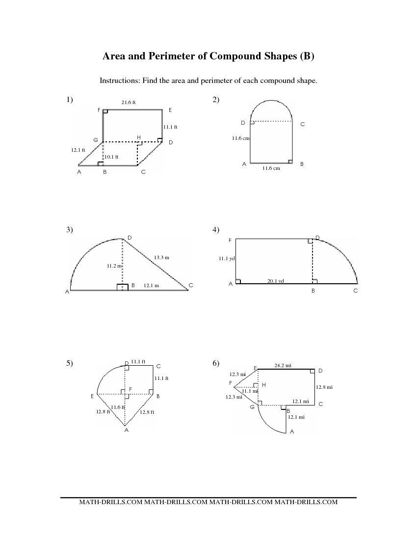 Math Aids Compound Shapes Pound area Worksheets