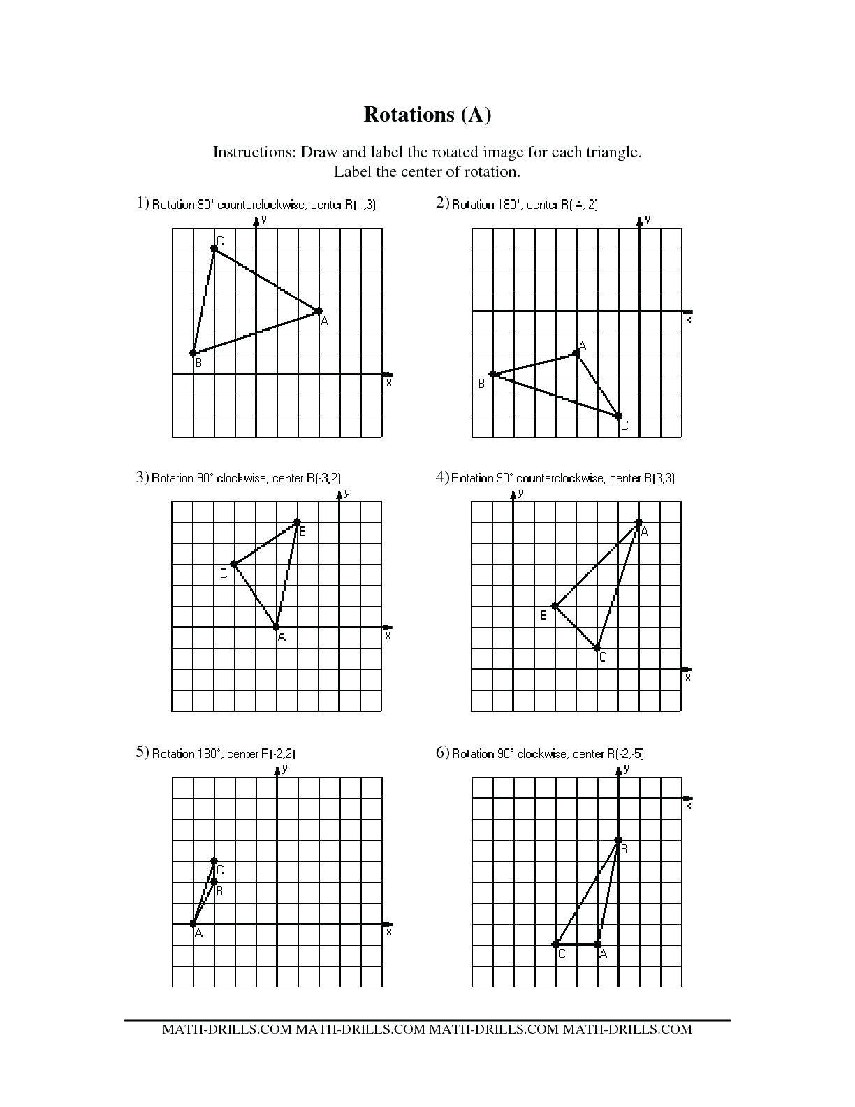 Math Aids Translations Answers Reflections and Rotations Worksheets