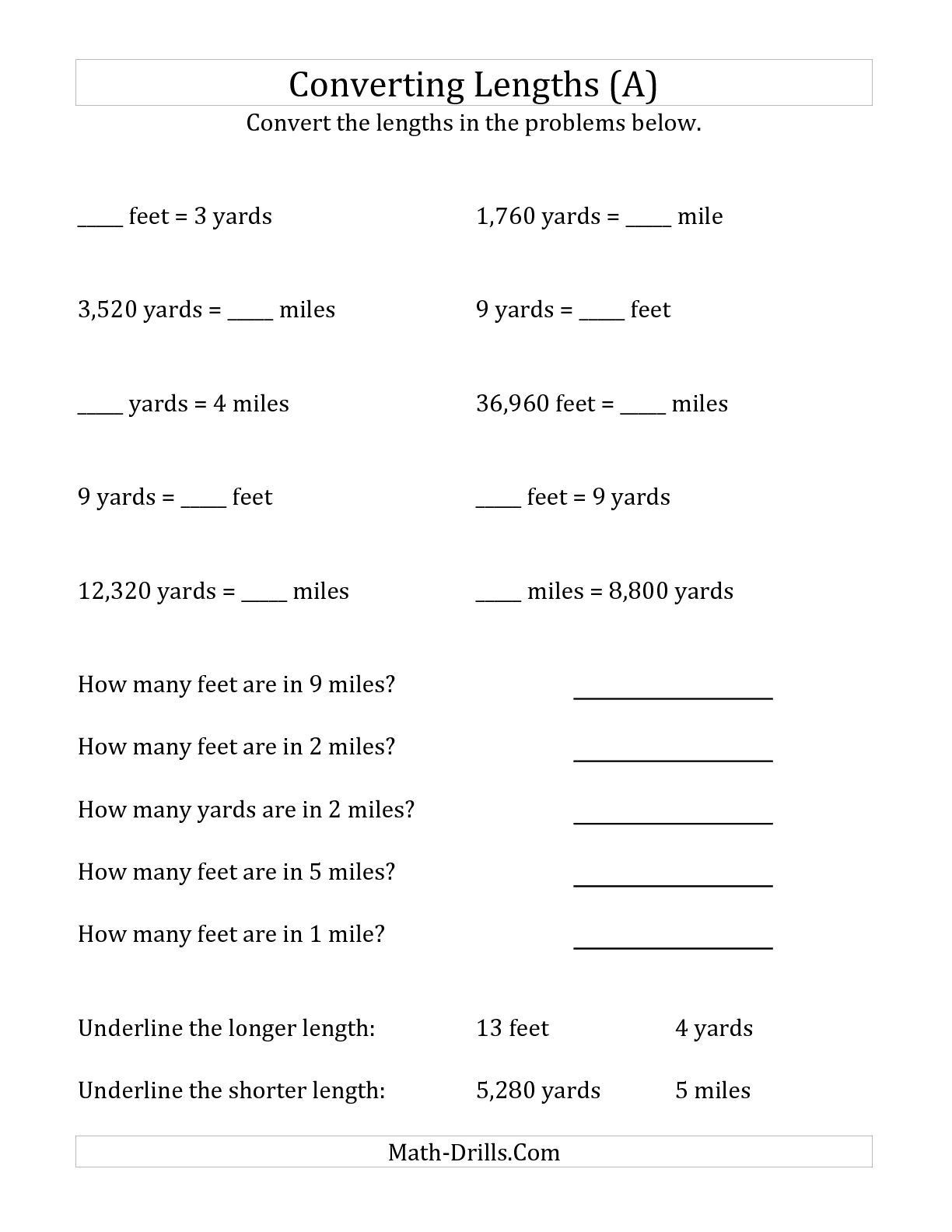 Math Conversion Worksheets 5th Grade the Converting Between U S Feet Yards and Miles A