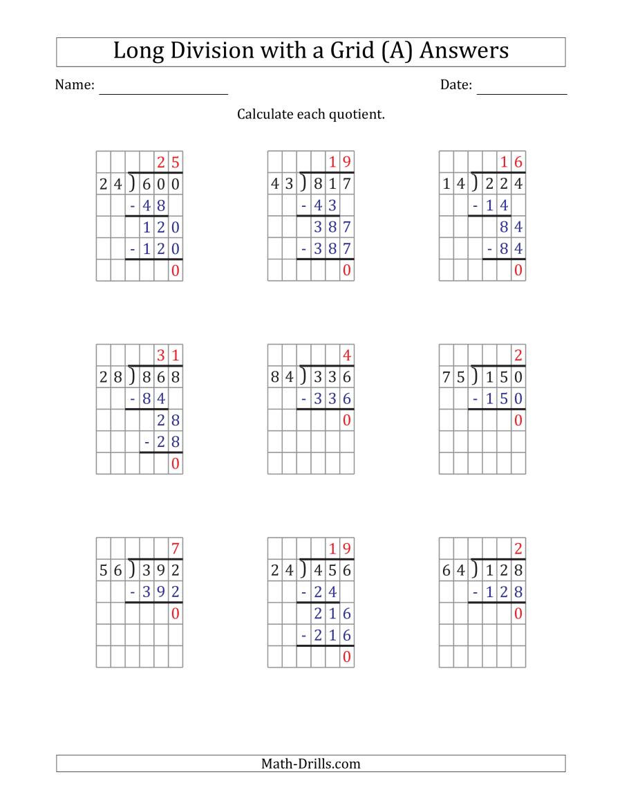 Math Drills Long Division 3 Digit by 2 Digit Long Division with Grid assistance and No