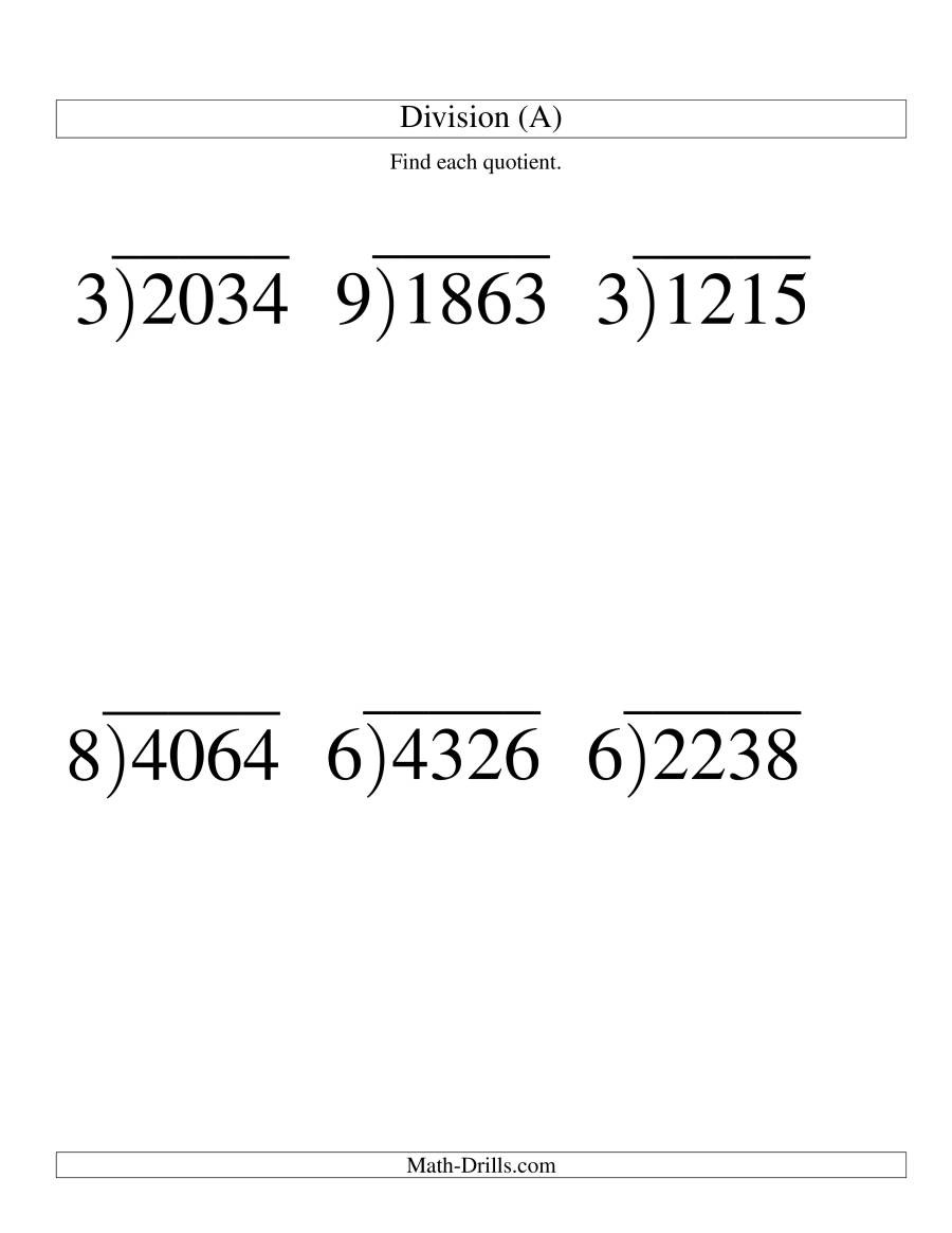 Math Drills Long Division Long Division E Digit Divisor and A Three Digit Quotient