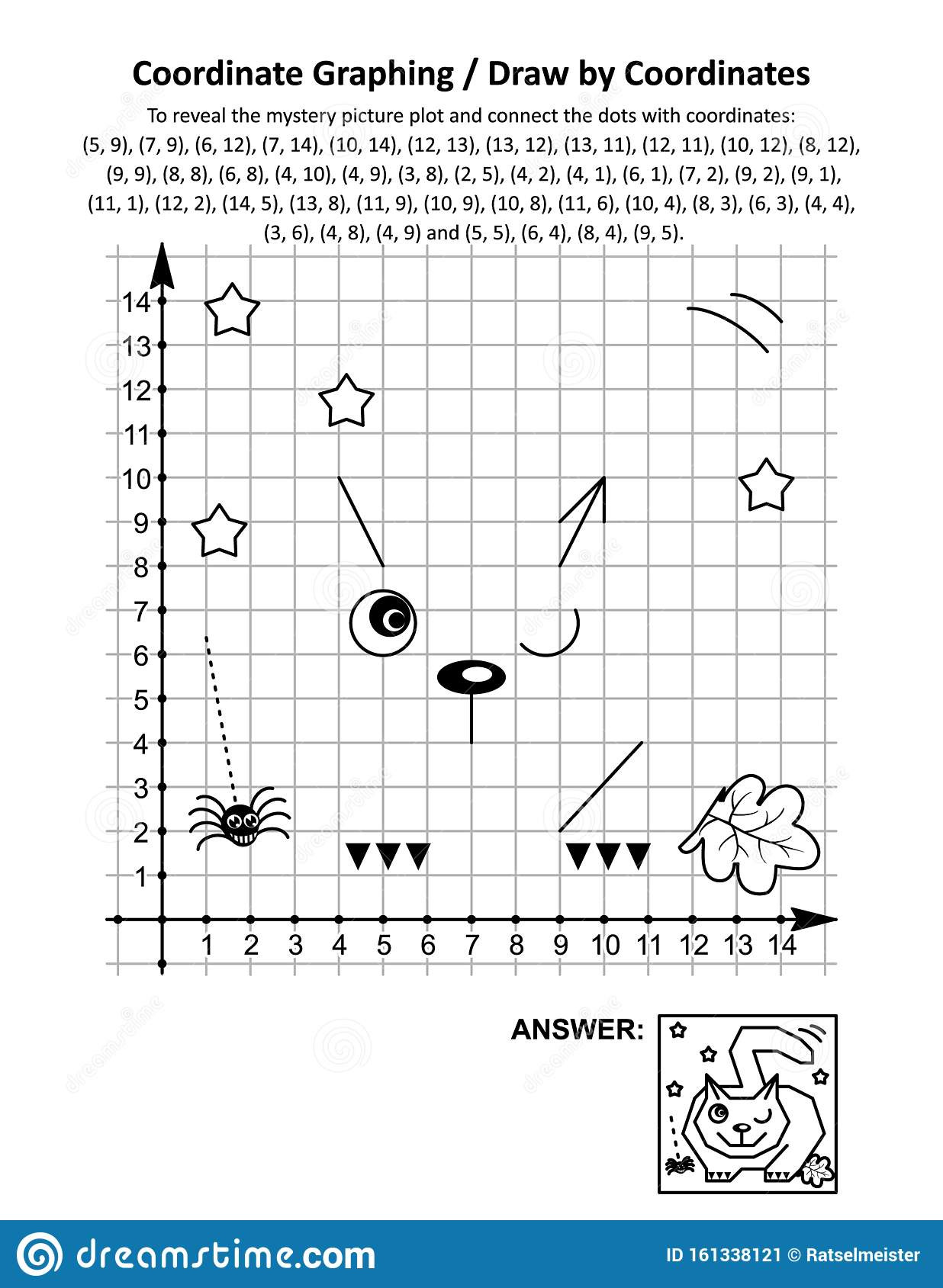 Math Mystery Picture Worksheets Coordinate Graphing Draw by Coordinates Math Worksheet