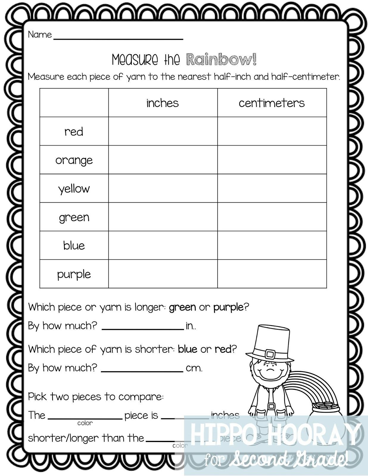 Measurement Worksheets for 2nd Grade St Patrick S Day Math Freebie