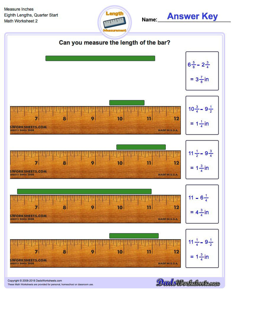 Measurement Worksheets for 3rd Grade Measure Inches From Quarter