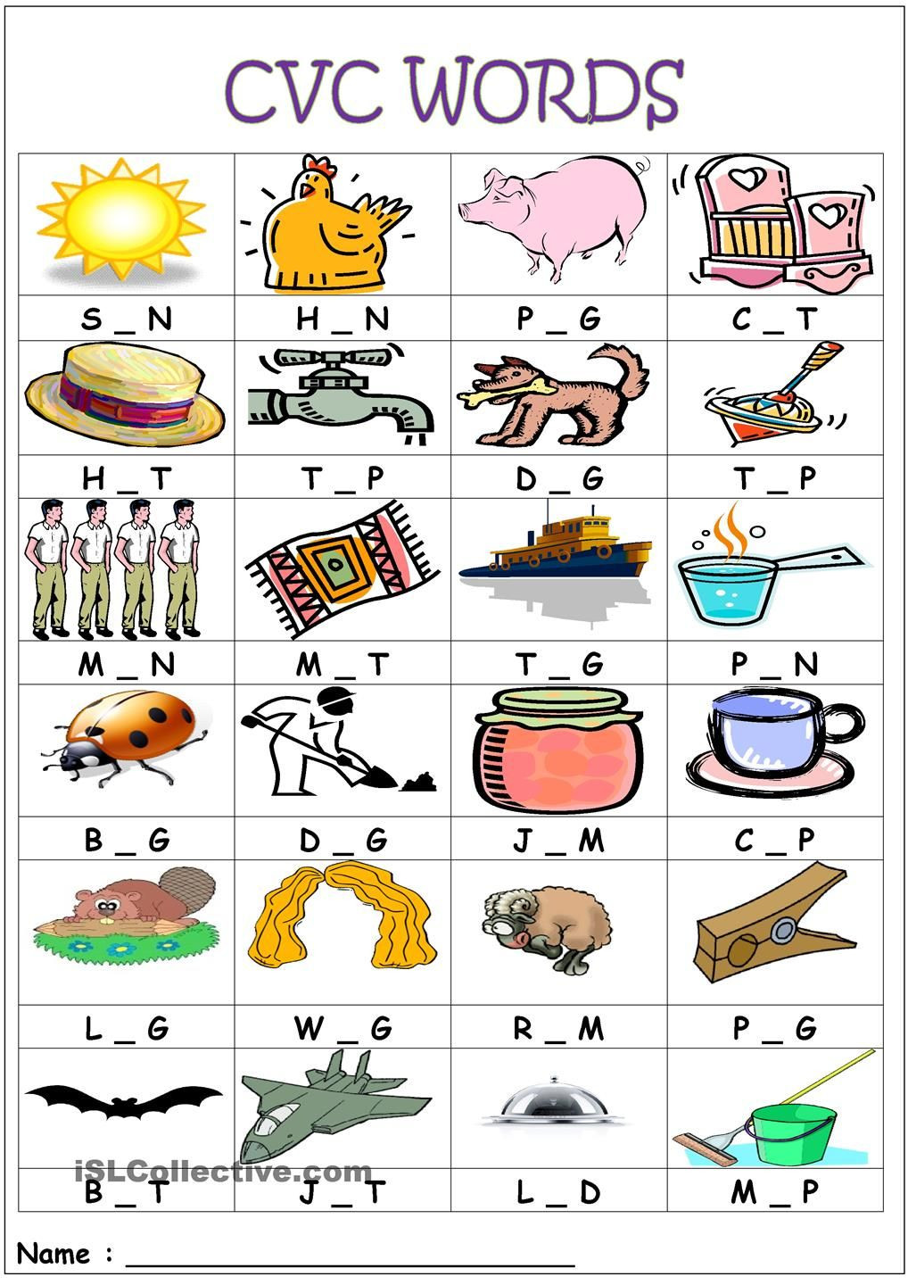 Medial sounds Worksheets First Grade Cvc Words Medial sounds