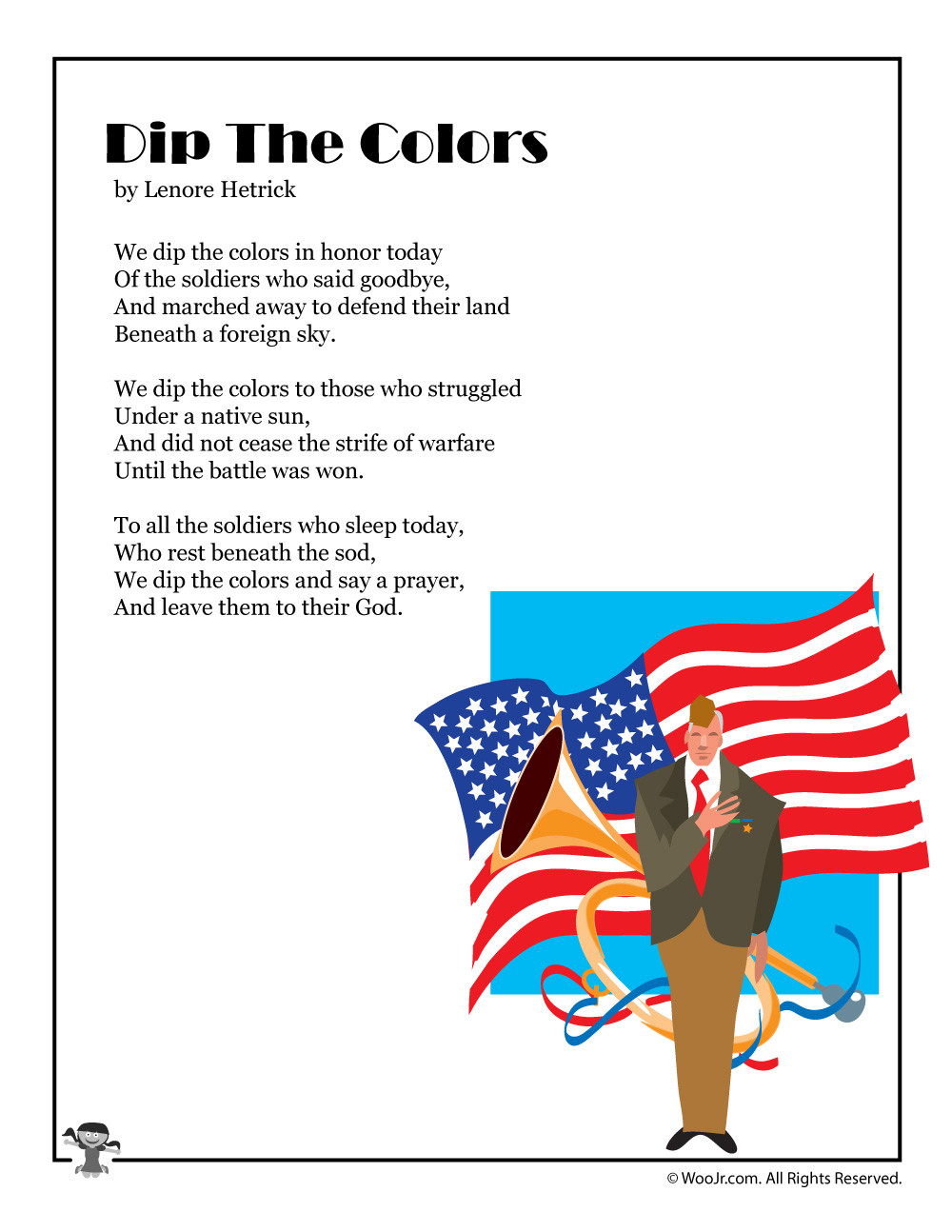 Memorial Day Worksheets First Grade Dip the Colors Serious Memorial Day Poem for Kids