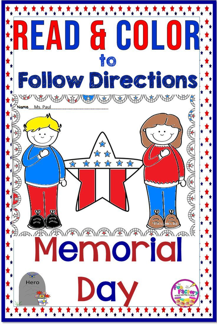 Memorial Day Worksheets First Grade Read and Color to Follow Directions Activities Memorial Day