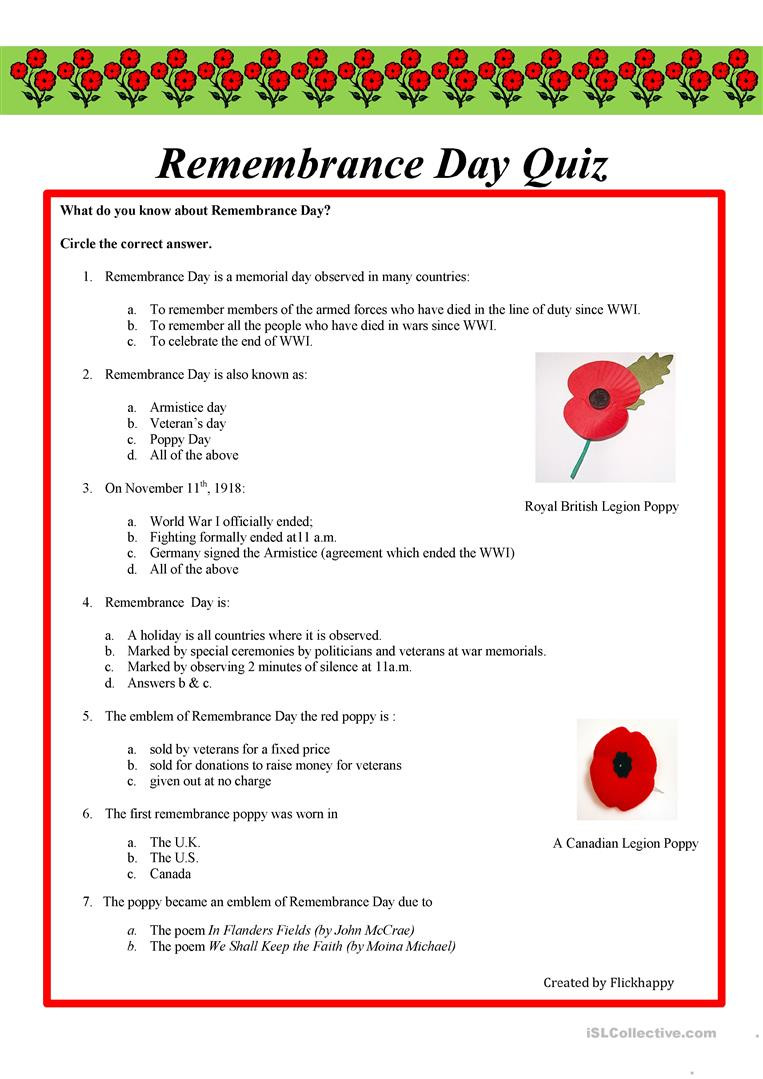 Memorial Day Worksheets Free Printable English Esl Remembrance Day Worksheets Most Ed 10