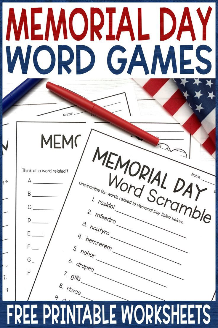 Memorial Day Worksheets Free Printable Memorial Day Activities Word Games Free
