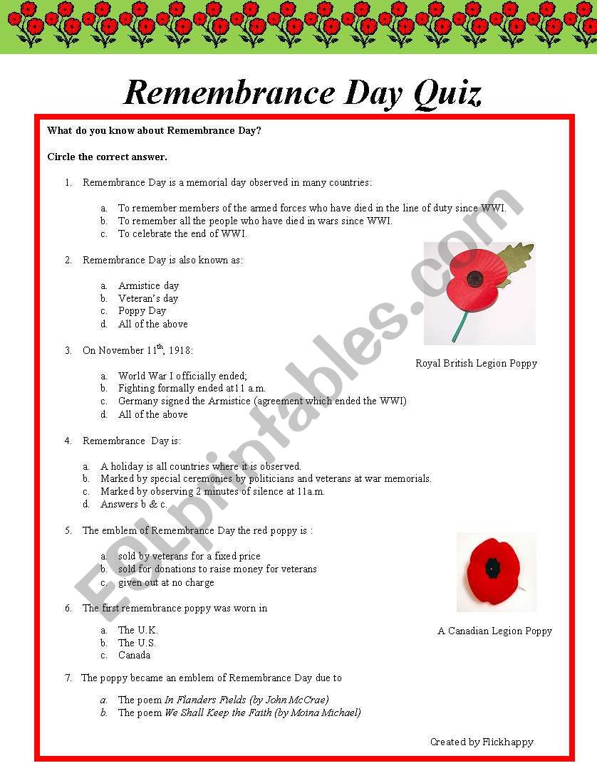 Memorial Day Worksheets Free Printable Remembrance Day Quiz Esl Worksheet by Flickhappy