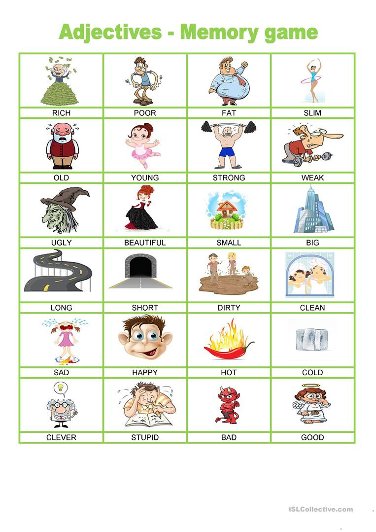 Memory Exercises for Adults Printable Adjectives Memory Game English Esl Worksheets for