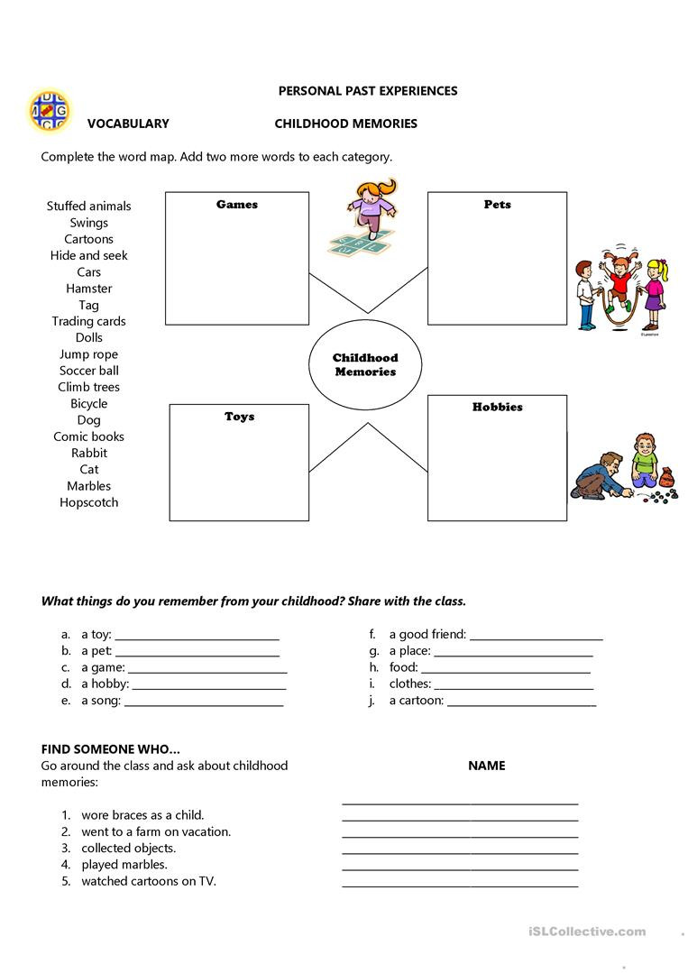 Memory Exercises for Adults Printable Childhood Memories English Esl Worksheets for Distance
