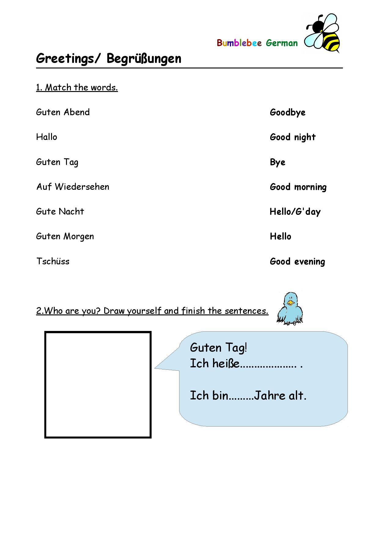 Memory Exercises for Adults Printable German Worksheets for Kids Printouts Beegerman