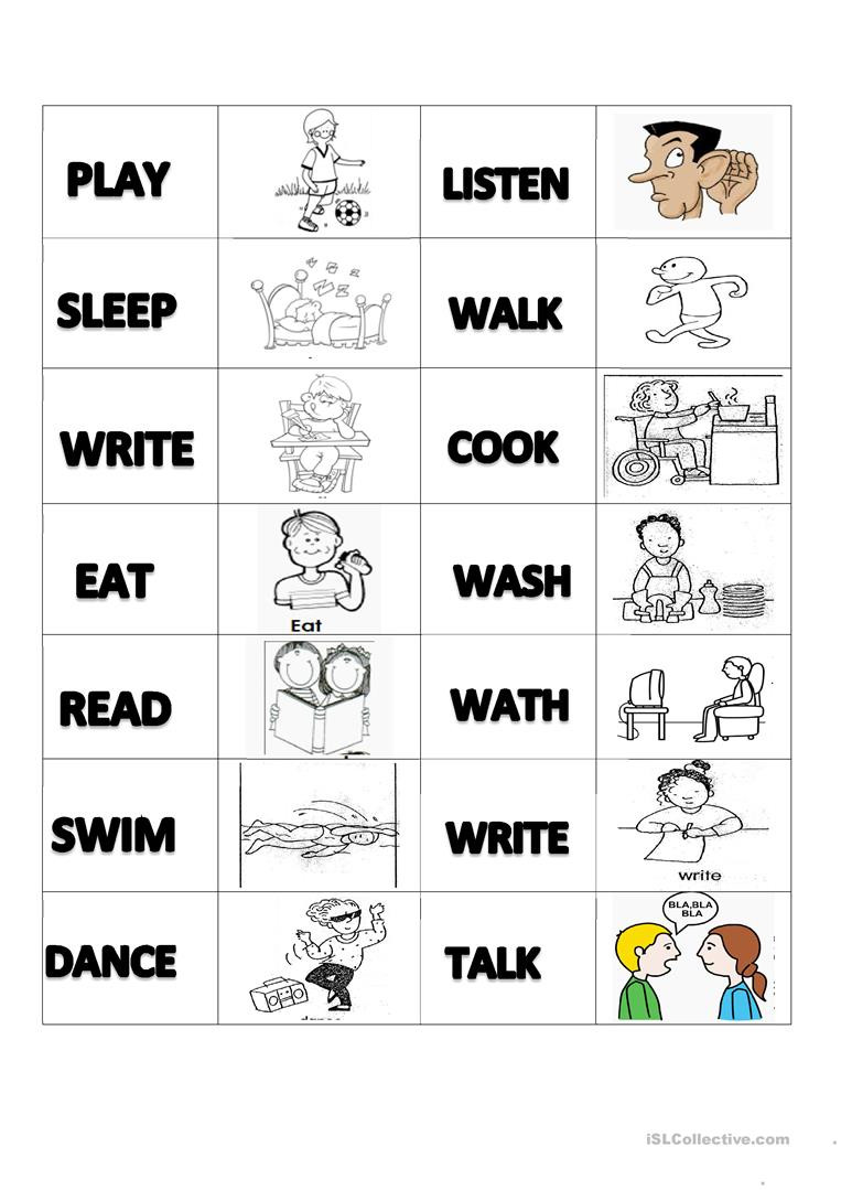 Memory Exercises for Adults Printable Verbs Memory Cards English Esl Worksheets for Distance