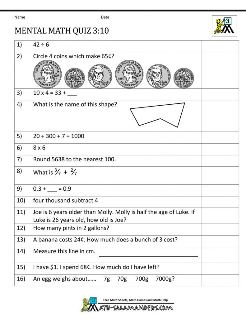 Mental Math Worksheets Grade 3 Printable Money Math Worksheets for 2nd Mental Math 3rd