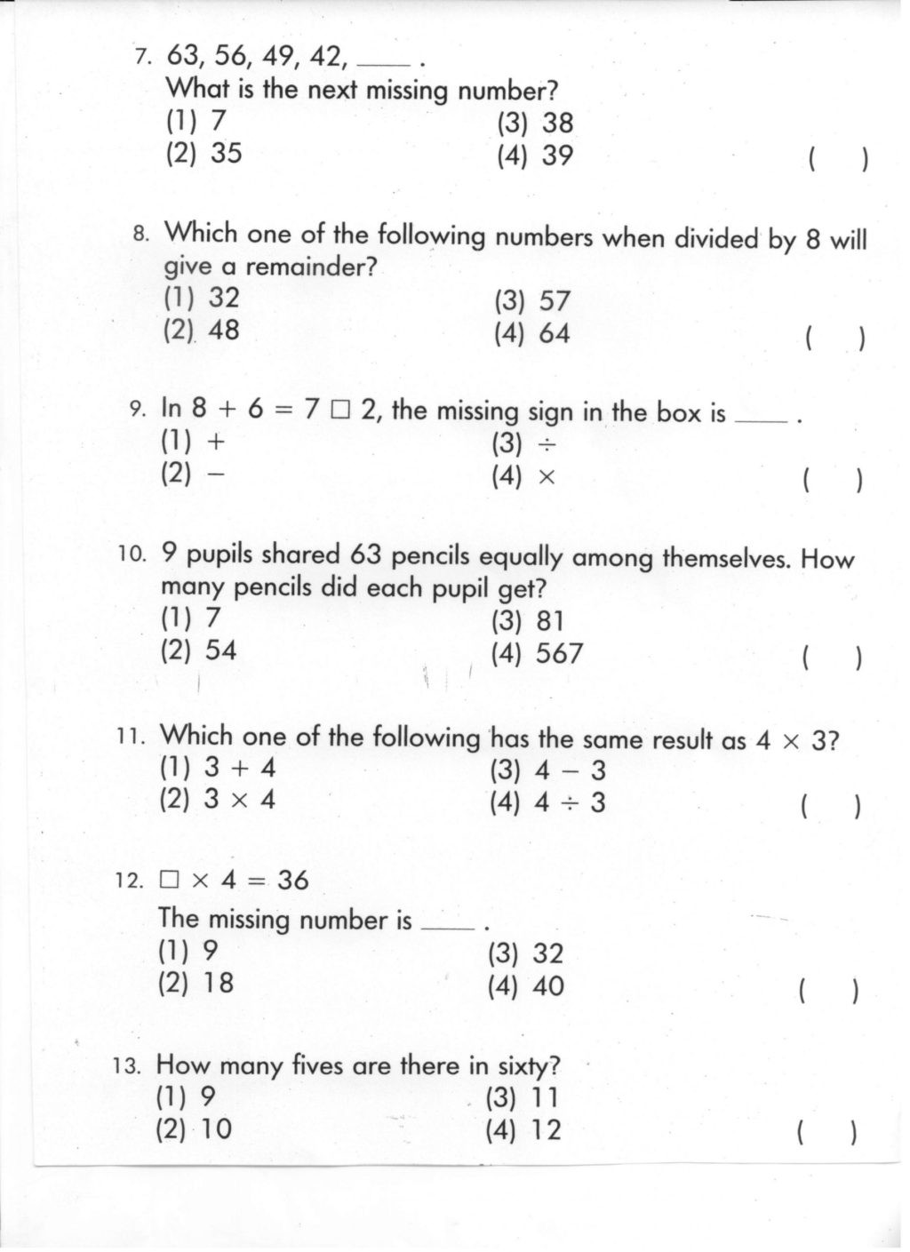 Mental Math Worksheets Grade 3 Worksheet Printable Mental Maths Questions for Class Math
