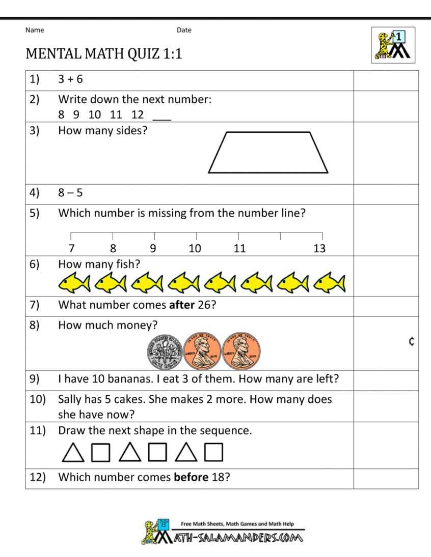 Mental Math Worksheets Grade 3 Worksheets First Grade Mental Math Worksheets Maths for
