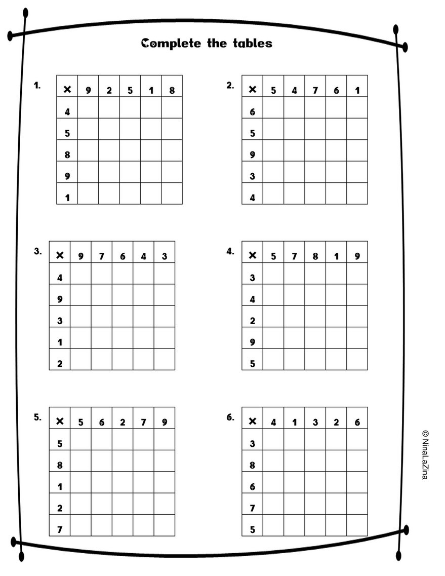 Mental Math Worksheets Grade 6 Ninalazina Mixed Times Tables Worksheets Free Upload Pr