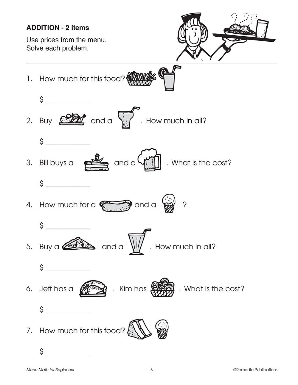 Menu Math Printable Menu Math for Beginners Johnson Barbara