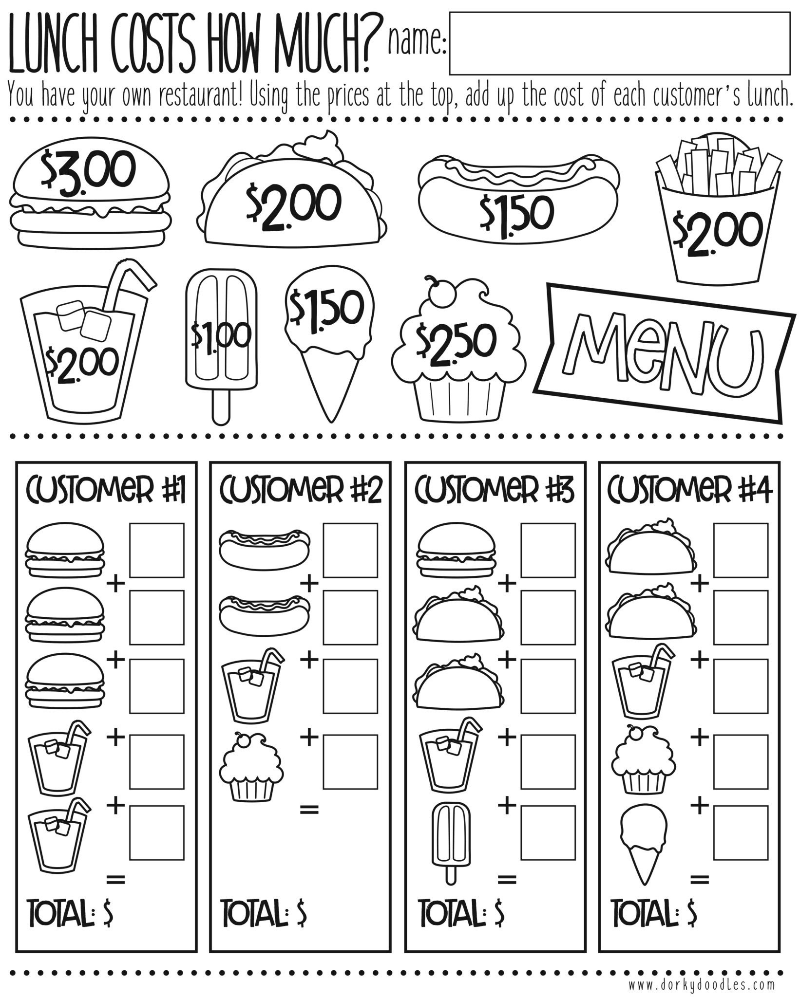 Menu Math Printable Money Math Practice How Much Does Lunch Cost – Dorky Doodles