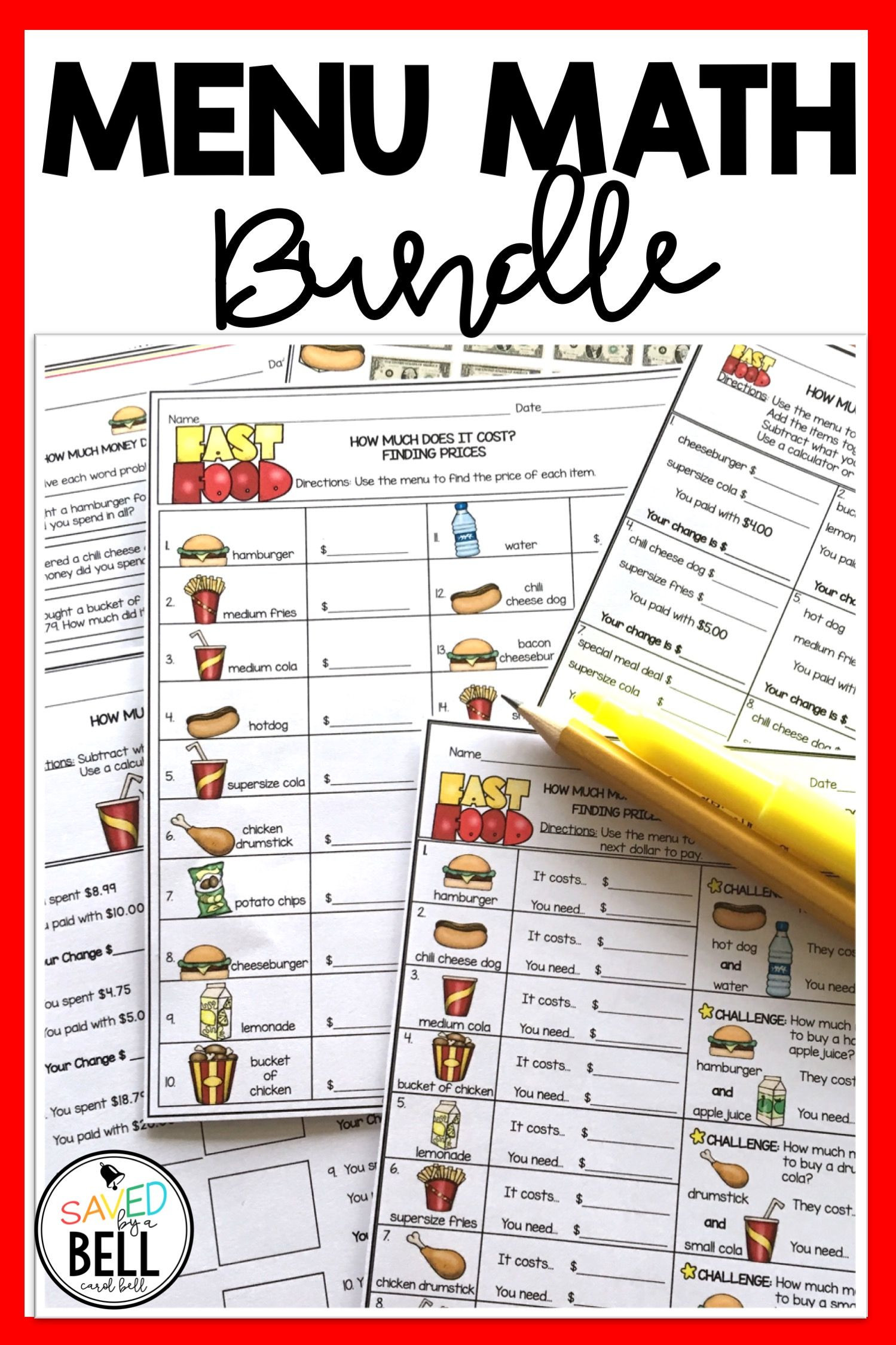 Menu Math Printable Money Worksheets and Word Problems Bundle Menu Math Distance