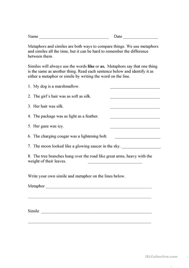 Metaphor Worksheet Middle School English Esl Metaphor Worksheets Most Ed 15 Results