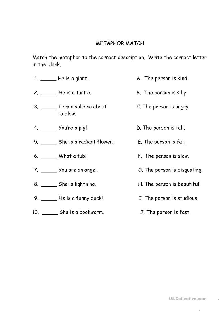 Metaphor Worksheet Middle School Interactive Math Quiz Inference Worksheets Middle School