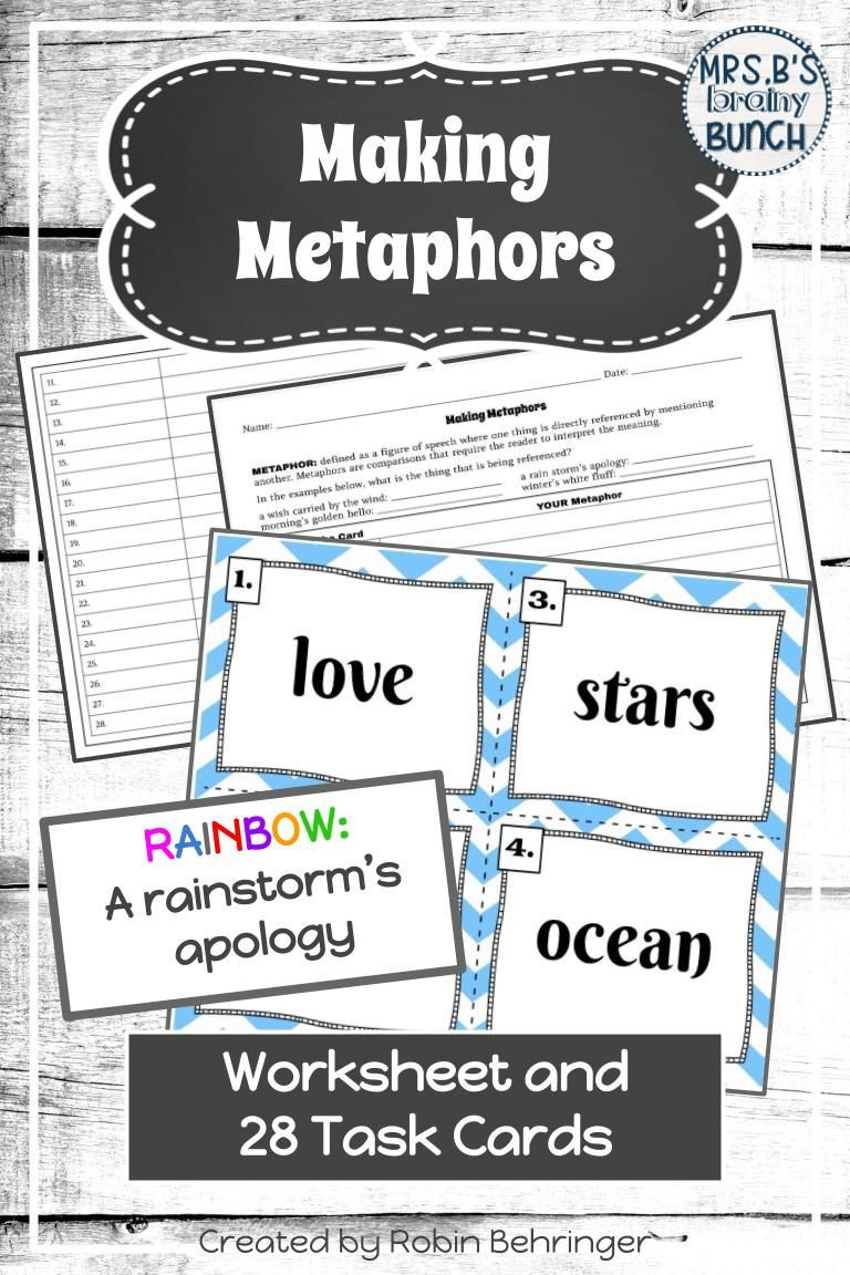 Metaphor Worksheet Middle School Metaphors Activity