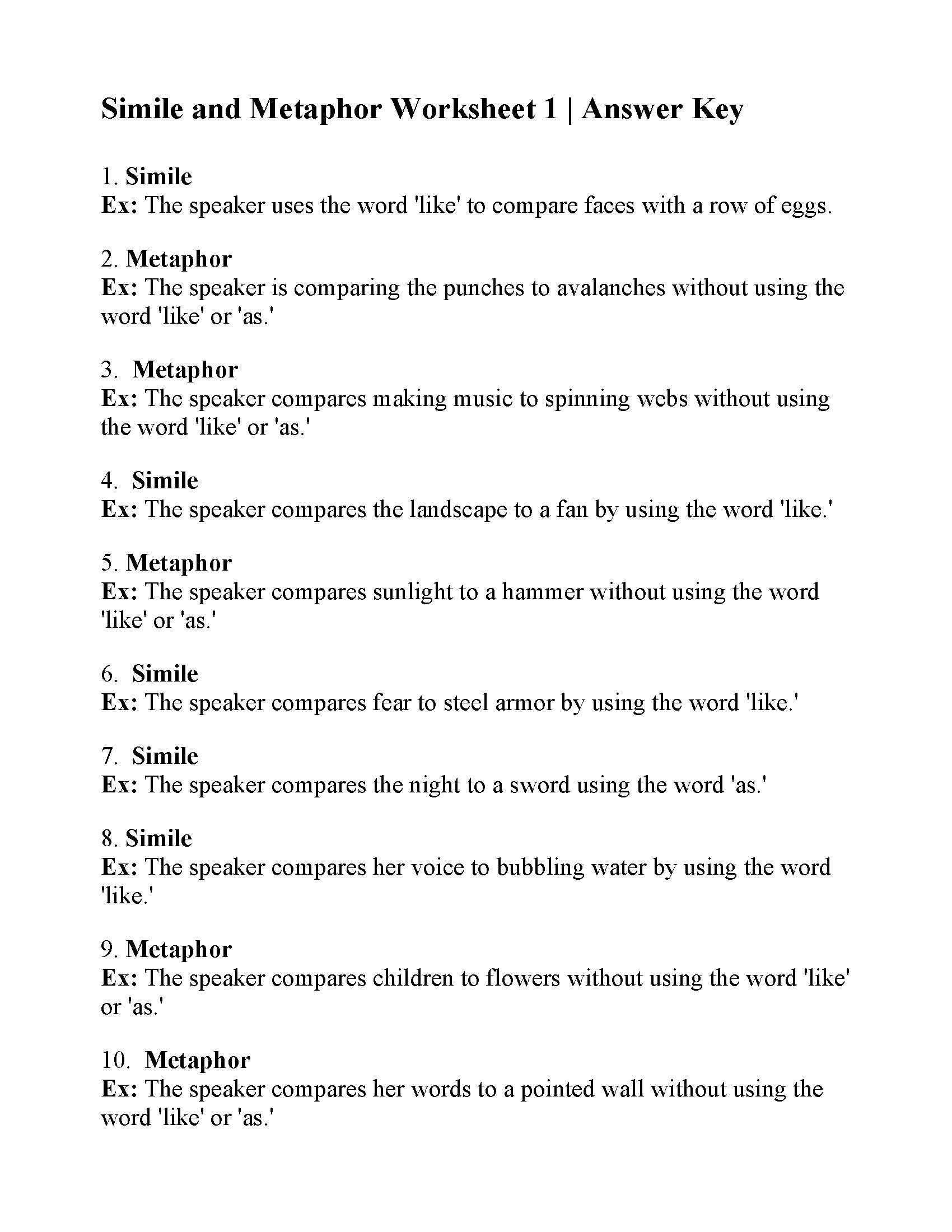 Metaphor Worksheet Middle School Simile and Metaphor Worksheet 1