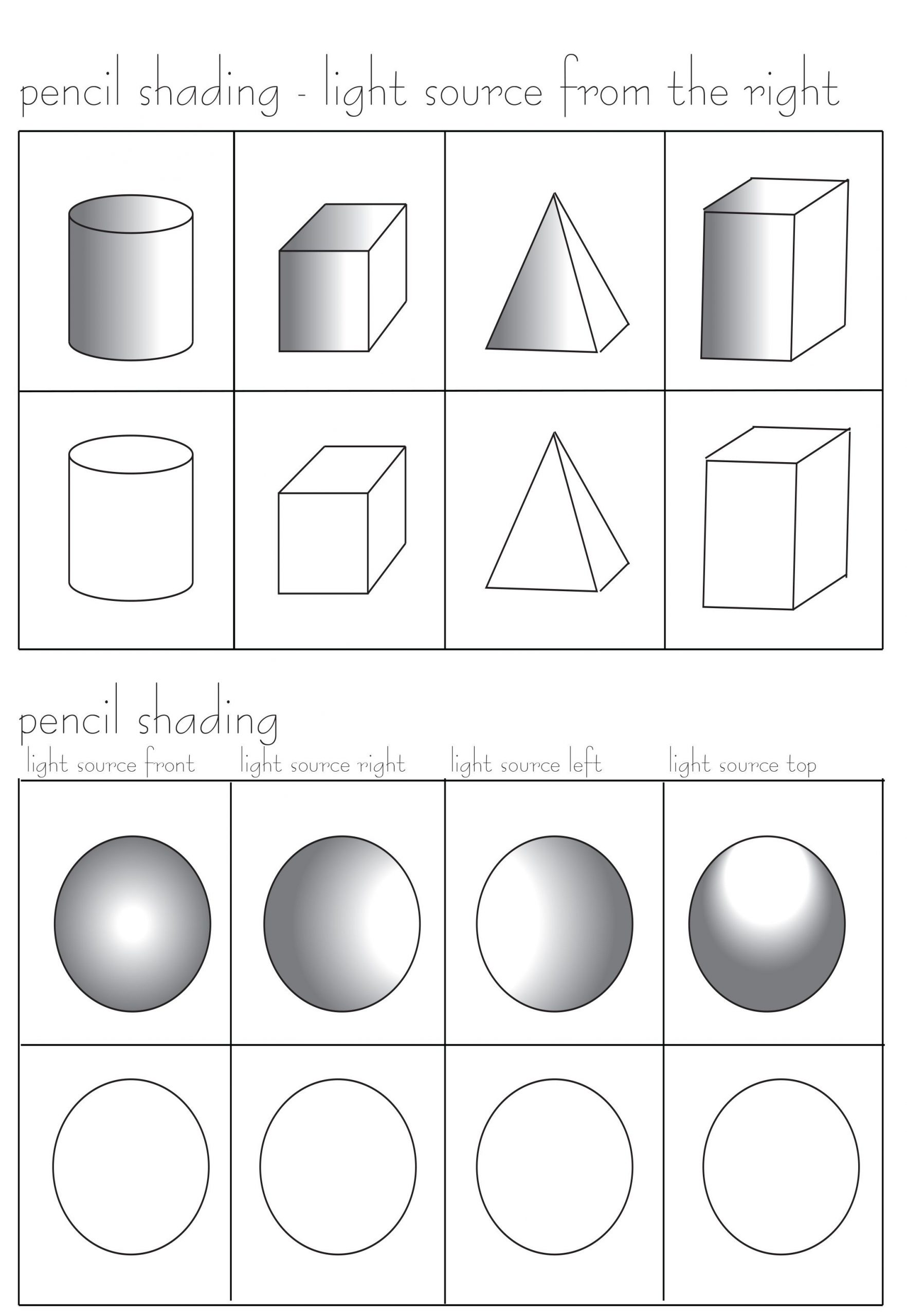 Middle School Art Worksheets Pencil Shading Worksheet Free at
